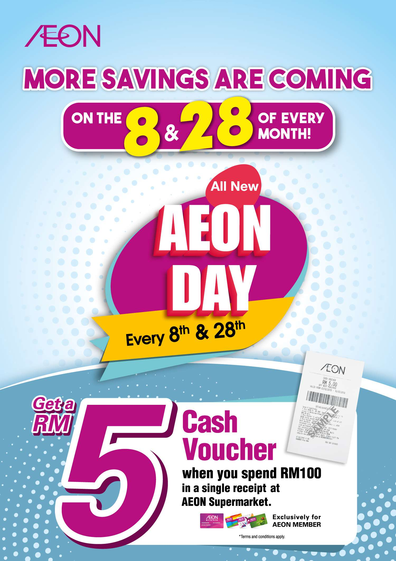 Aeon More Savings Are Coming On the 8 and 28 of Every Month