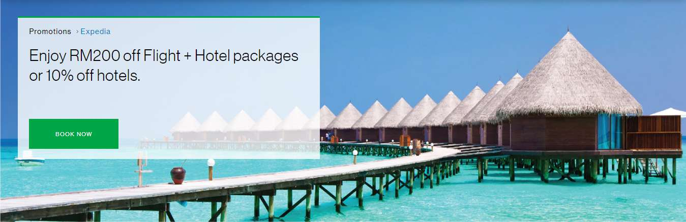 Enjoy RM200 off Flight + Hotel packages or 10% off hotels.