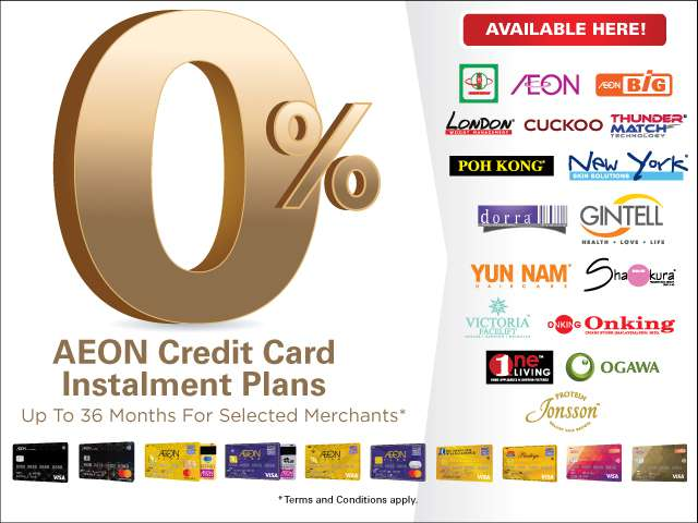 Enjoy 0% instalment plans with AEON Credit Cards