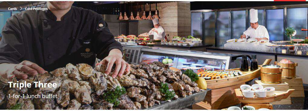 1-for-1 lunch buffet at Triple Three, Mandarin Orchard Singapore