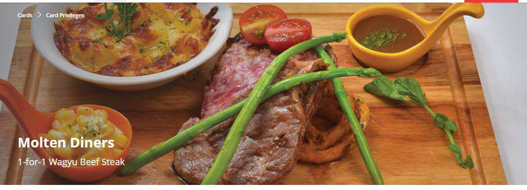 1-for-1 Wagyu Beef Steak at Molten Diners