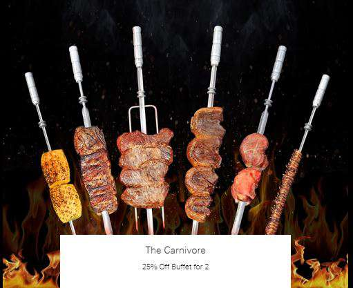 25% Off Buffet for 2 at The Carnivore