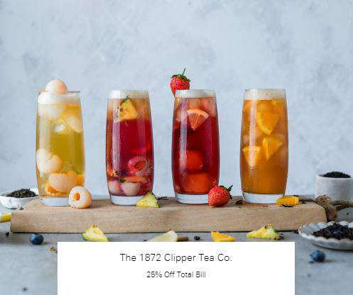 25% Off Total Bill at The 1872 Clipper Tea Co.