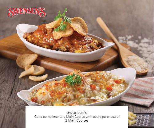 Get a complimentary Main Course with every purchase of 2 Main Courses at Swensen's