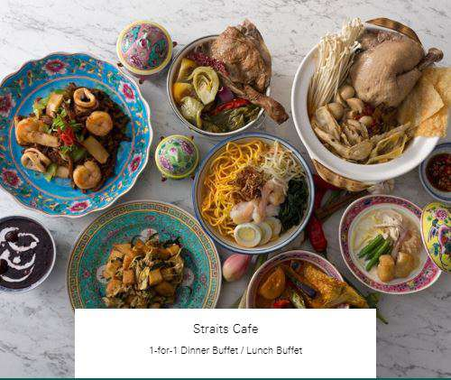1-for-1 Dinner Buffet / Lunch Buffet at Straits Cafe