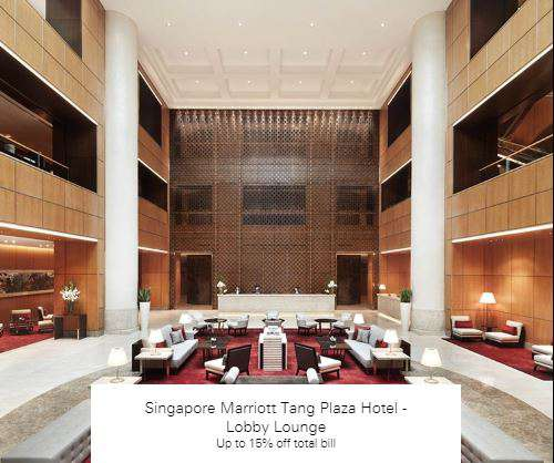 Up to 15% off total bill at Singapore Marriott Tang Plaza Hotel - Lobby Lounge