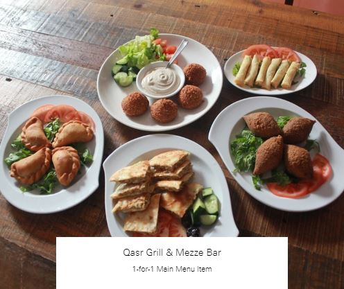 1-for-1 Main Menu Item at Qasr Grill & Mezze Bar