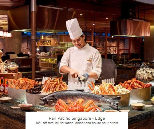 10% off total bill for lunch, dinner and house pour drinks at Pan Pacific Singapore - Edge