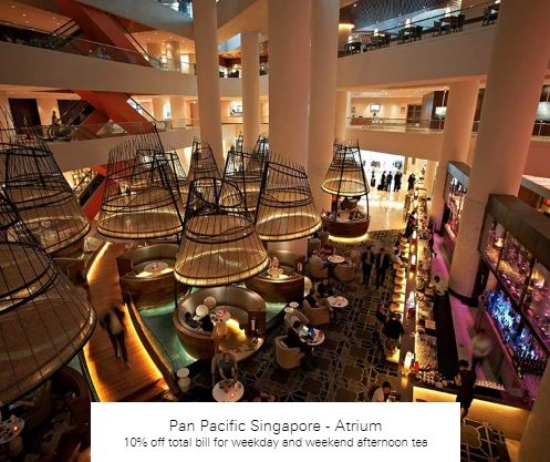 10% off total bill for weekday and weekend afternoon tea at Pan Pacific Singapore - Atrium