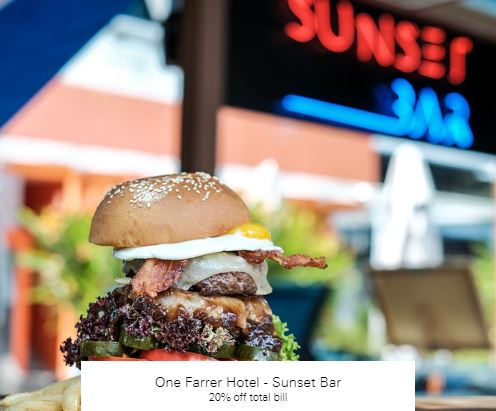 20% off total bill at One Farrer Hotel - Sunset Bar