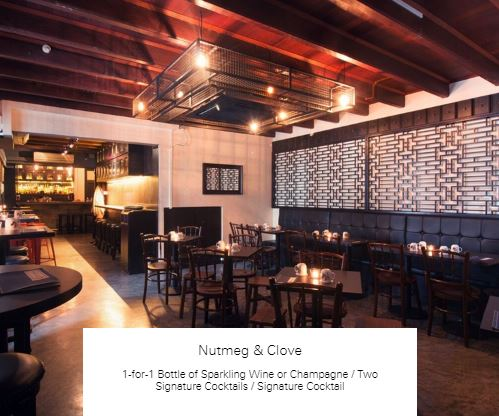 1-for-1 Bottle of Sparkling Wine or Champagne / Two Signature Cocktails / Signature Cocktail at Nutmeg & Clove