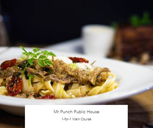 1-for-1 Main Course at Mr Punch Public House