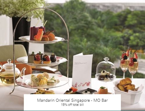 15% off total bill at Mandarin Oriental Singapore - MO Bar