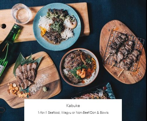 1-for-1 Seafood, Wagyu or Non-Beef/Don & Bowls at Kabuke