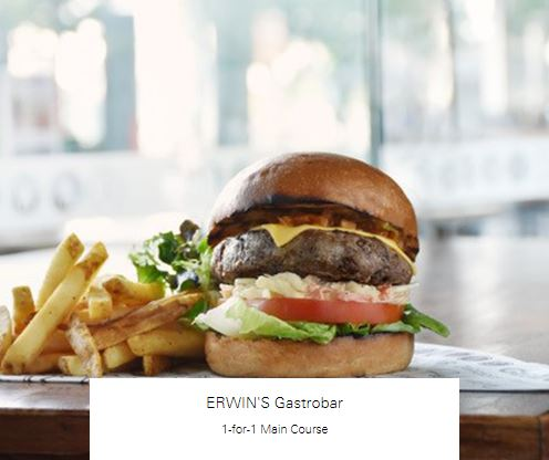 1-for-1 Main Course at ERWIN'S Gastrobar