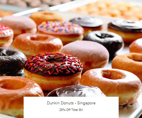 25% Off Total Bill at Dunkin Donuts - Singapore