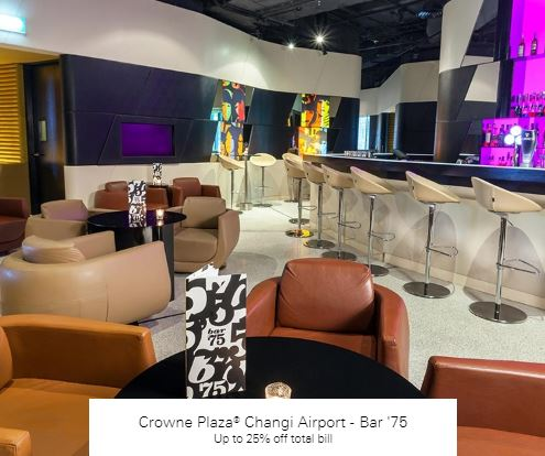 Up to 25% off total bill at Crowne Plaza® Changi Airport - Bar '75