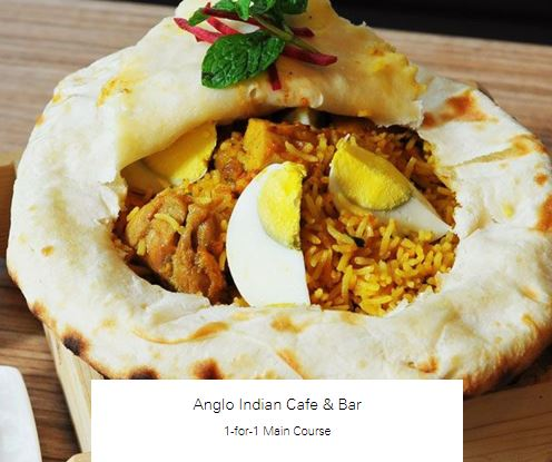1-for-1 Main Course at Anglo Indian Cafe & Bar