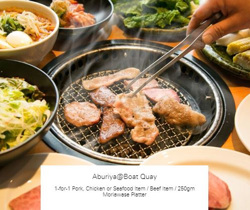 1-for-1 Pork, Chicken or Seafood Item / Beef Item / 250gm Moriawase Platter at Aburiya@Boat Quay