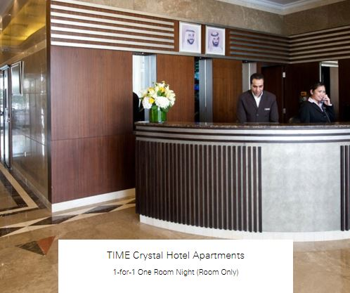 1-for-1 One Room Night (Room Only) at TIME Crystal Hotel Apartments