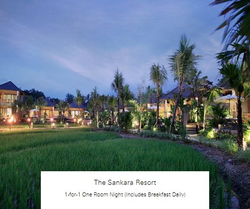 1-for-1 One Room Night (Includes Breakfast Daily) at The Sankara Resort