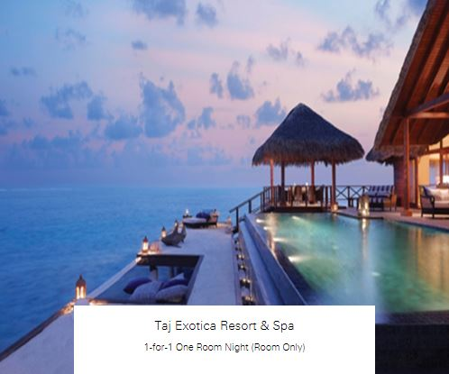 1-for-1 One Room Night (Room Only) at Taj Exotica Resort & Spa
