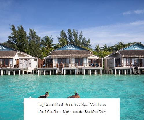 1-for-1 One Room Night (Includes Breakfast Daily) at Taj Coral Reef Resort & Spa Maldives
