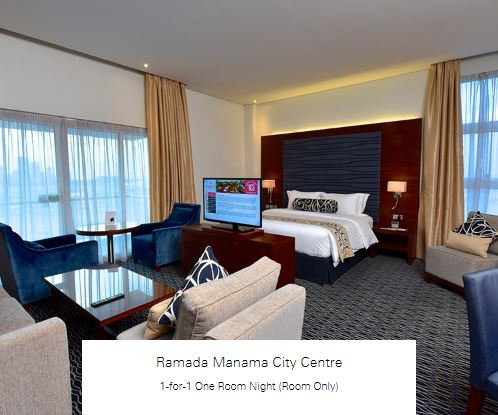 1-for-1 One Room Night (Room Only) at Ramada Manama City Centre