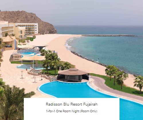 1-for-1 One Room Night (Room Only) at Radisson Blu Resort Fujairah