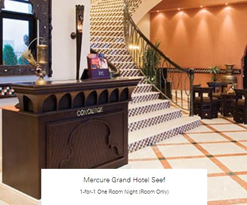 1-for-1 One Room Night (Room Only) at Mercure Grand Hotel Seef