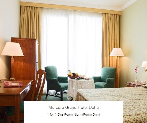 1-for-1 One Room Night (Room Only) at Mercure Grand Hotel Doha
