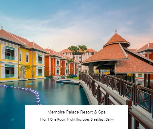 1-for-1 One Room Night (Includes Breakfast Daily) at Memoire Palace Resort & Spa