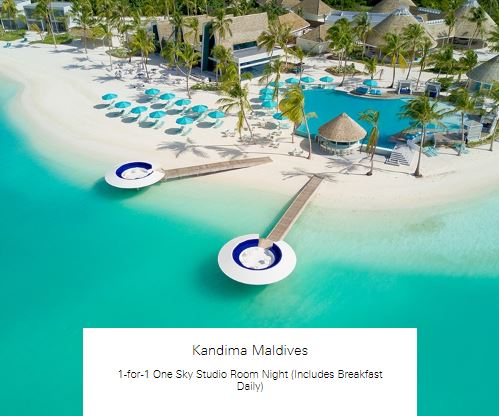 1-for-1 One Sky Studio Room Night (Includes Breakfast Daily) at Kandima Maldives