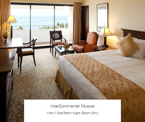 1-for-1 One Room Night (Room Only) at InterContinental Muscat