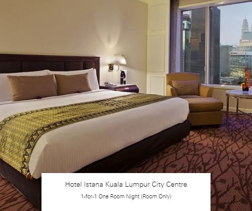 1-for-1 One Room Night (Room Only) at Hotel Istana Kuala Lumpur City Centre