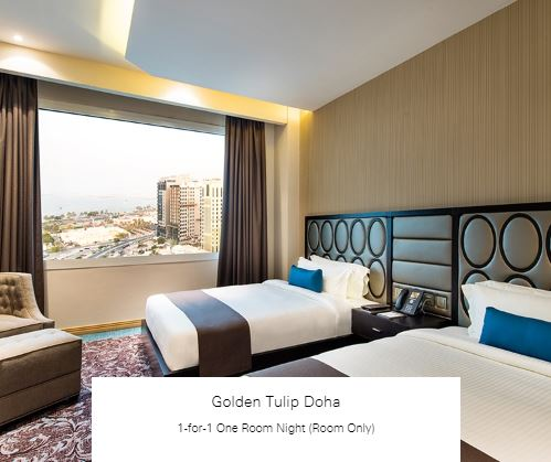 1-for-1 One Room Night (Room Only) at Golden Tulip Doha