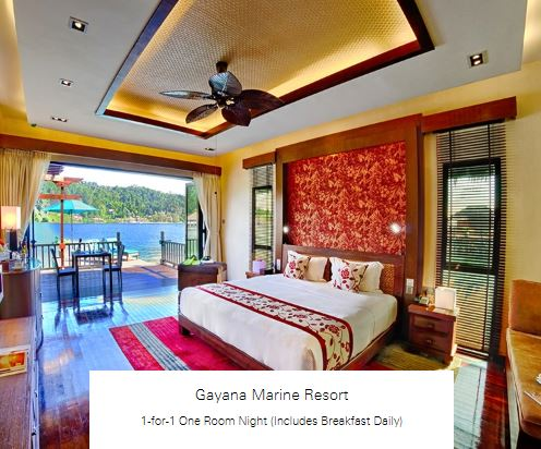 1-for-1 One Room Night (Includes Breakfast Daily) at Gayana Marine Resort