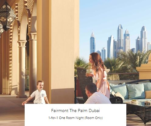 1-for-1 One Room Night (Room Only) at Fairmont The Palm Dubai