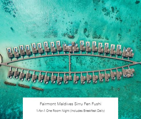 1-for-1 One Room Night (Includes Breakfast Daily) at Fairmont Maldives Sirru Fen Fushi