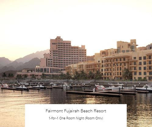 1-for-1 One Room Night (Room Only) at Fairmont Fujairah Beach Resort