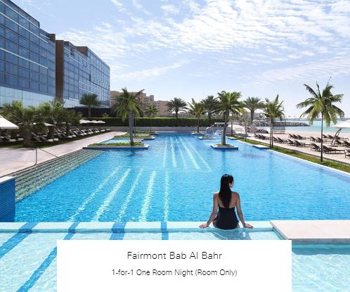 1-for-1 One Room Night (Room Only) at Fairmont Bab Al Bahr