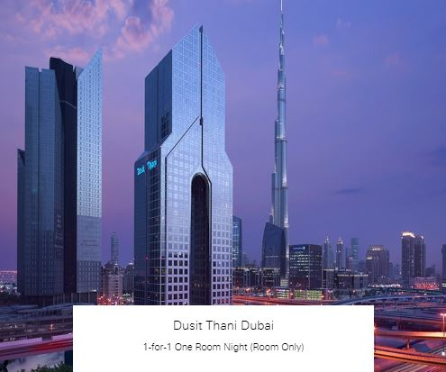 1-for-1 One Room Night (Room Only) at Dusit Thani Dubai