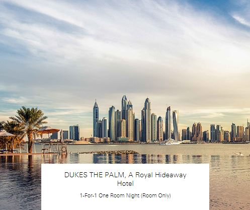 1-For-1 One Room Night (Room Only at DUKES THE PALM, A Royal Hideaway Hotel