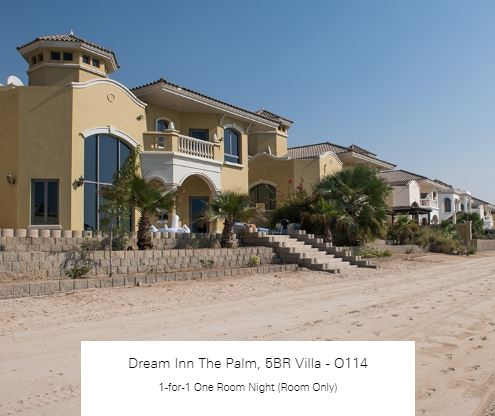 1-for-1 One Room Night (Room Only) at Dream Inn The Palm, 5BR Villa - O114