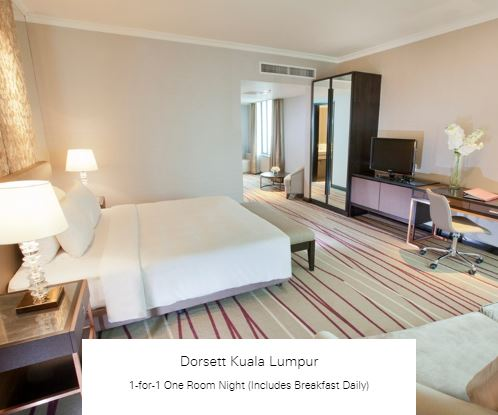 1-for-1 One Room Night (Includes Breakfast Daily) at Dorsett Kuala Lumpur