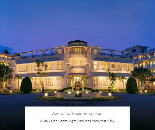 1-For-1 One Room Night (Includes Breakfast Daily) at Azerai La Residence, Hue