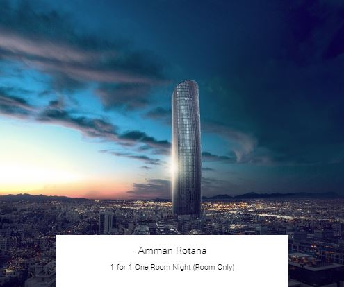 1-for-1 One Room Night (Room Only) at Amman Rotana