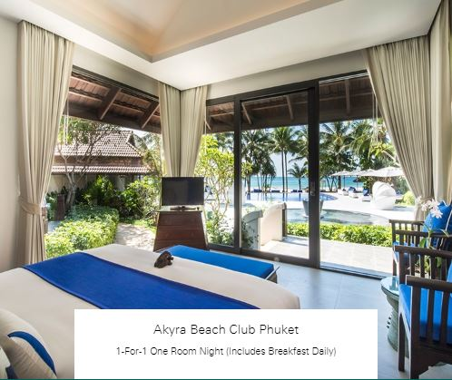 1-For-1 One Room Night (Includes Breakfast Daily) at Akyra Beach Club Phuket