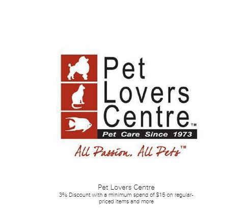 3% Discount with a minimum spend of $15 on regular-priced items and more at Pet Lovers Centre