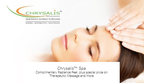 Complimentary Radiance Peel, plus special price on Therapeutic Massage and more at Chrysalis™ Spa